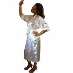 Robe Longo Feminino de Cetim Com Elastano Manga 3/4 Branco