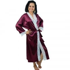 Robe Longo Feminino de Cetim Com Elastano Manga 3/4 com Renda Manga e Pala Branco Cor Vinho Marsala