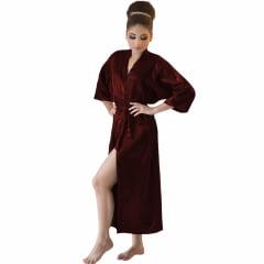 Robe Longo Feminino de Cetim Com Elastano Manga 3/4 Vinho Marsala