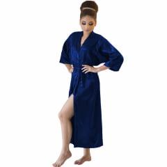 Robe Longo Feminino de Cetim Manga 3/4 Azul Marinho