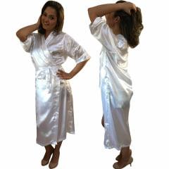 Robe Longo Feminino de Cetim Manga 3/4 Branco