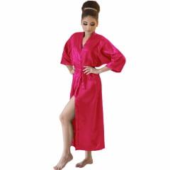 Robe Longo de Cetim Feminino Manga 3/4 Cor Rosa Pink