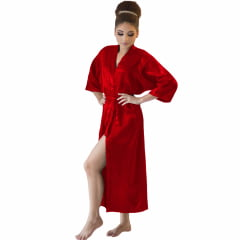 Robe Longo Feminino de Cetim Manga 3/4 Vermelho