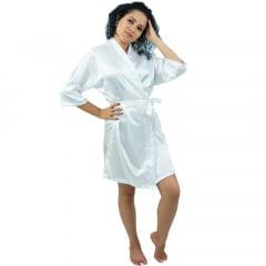 Robe de Cetim Com Elastano Feminino Manga 3/4 Branco