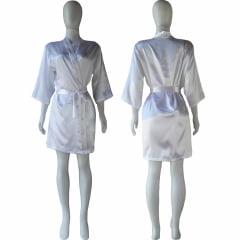 Robe de Cetim Feminino Manga 3/4 Branco