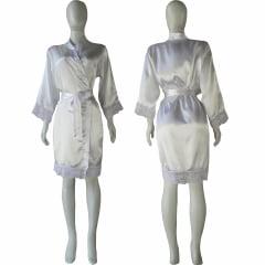 Robe de Cetim Feminino Manga 3/4 Com Renda Manga e Bainha Branco Cod.452