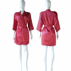 Robe de Cetim Feminino Manga 3/4  Rosa Pink