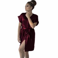 Robe de Cetim Feminino Modelo Manga Curta Com Elastano  Cor Vinho