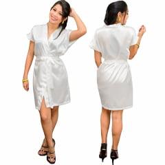 Robe de Cetim Com Elastano Feminino Manga Curta  Cor Branco