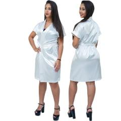 Robe Feminino de Cetim Com Elastano Manga Curta  Cor Branco