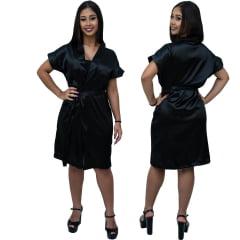 Robe Feminino de Cetim Com Elastano Manga Curta Cor Preto