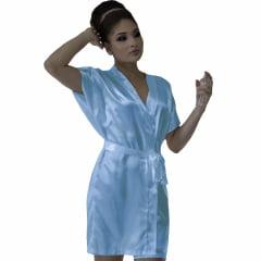 Robe de Cetim Feminino Normal Cor Azul Bebê