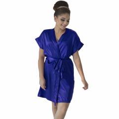 Robe de Cetim Feminino Normal Cor Azul Royal
