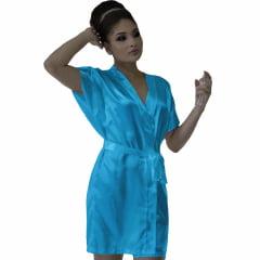 Robe de Cetim Feminino Normal Cor Azul Tiffany
