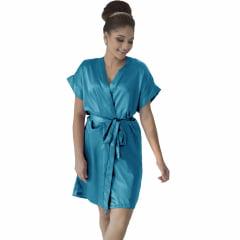 Robe de Cetim Feminino Normal Cor Azul Turqueza