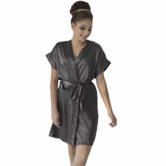 Robe de Cetim Feminino Normal Cor Chumbo Escuro