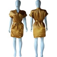 Robe de Cetim Feminino Normal Cor Dourado