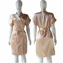 Robe de Cetim Feminino Normal Cor Dourado Claro