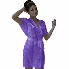 Robe de Cetim Feminino Normal Cor Lilás