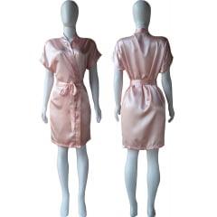 Robe de Cetim Feminino Normal Cor Pessego Claro