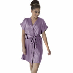 Robe de Cetim Feminino Normal Cor Rosa Chá