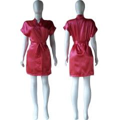 Robe de Cetim Feminino Normal Cor Rosa Pink Cereja