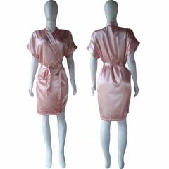 Robe de Cetim Feminino Normal Cor Roser