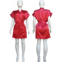 Robe de Cetim Feminino Normal Cor Vermelho Cereja