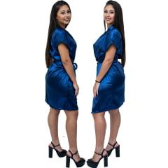 Robe Feminino de Cetim Com Elastano Manga Curta Cor Azul Marinho