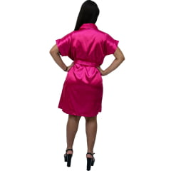 Robe Feminino de Cetim Com Elastano Manga Curta Cor Pink Celebr 349