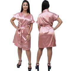 Robe Feminino de Cetim Com Elastano Manga Curta Cor Roser Blush 309