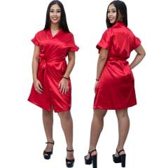 Robe Feminino de Cetim Com Elastano Manga Curta Cor Vermelho Ferrari 460
