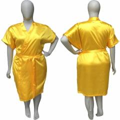 Robe de Cetim Feminino Plus Size 48 50 52 e 54 Amarelo Dourado