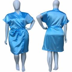 Robe de Cetim Feminino Plus Size Azul Danubio Tamanho 48 50 52 e 54