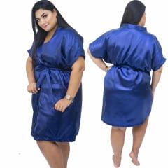 Robe de Cetim Feminino Plus Size Azul Marinho Tamanho 48 50 52 e 54