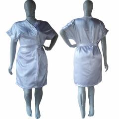Robe de Cetim Feminino Plus Size Branco Tamanho 48 50 52 e 54