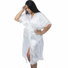Robe de Cetim Feminino Plus Size  com Elastano Branco Com Renda Completo 48 50 52 e 54