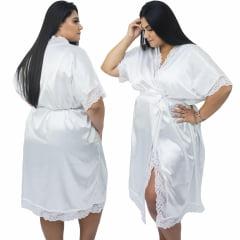 Robe de Cetim Feminino com Renda completo  Plus Size 48 50 52 e 54 Branco