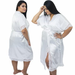 Robe de Cetim Feminino Plus Size  Feminino Branco Com Renda Completo 48 50 52 e 54