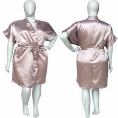 Robe de Cetim Feminino Plus Size Old Rose Tamanho 48 50 52 e 54