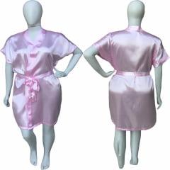 Robe de Cetim Feminino Plus Size Rosa Bebê Tamanho 48 50 52 e 54