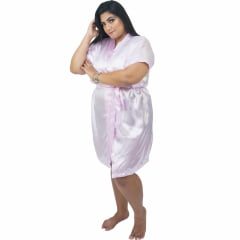 Robe de Cetim Feminino Plus Size 48 50 52 e 54 Rosa Bebê