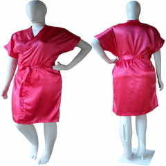 Robe de Cetim Feminino Plus Size Rosa Pink Tamanho 48 50 52 e 54