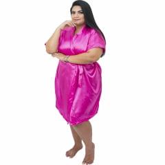 Robe de Cetim Feminino Plus Size 48 50 52 e 54 Rosa Pink