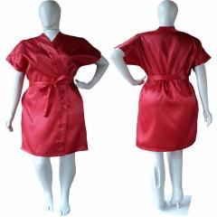 Robe de Cetim Feminino Plus Size Vermelho Tamanho 48 50 52 e 54