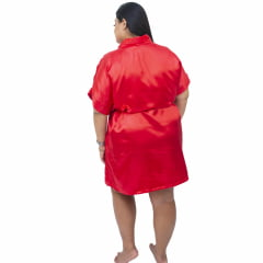 Robe de Cetim Feminino Plus Size 48 50 52 e 54 Vermelho