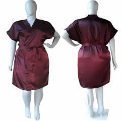 Robe de Cetim Feminino Plus Size 48 50 52 e 54 Vinho