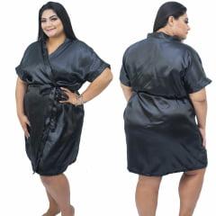 Robe de Cetim Feminino Plus Size Preto Tamanho 48 50 52 e 54