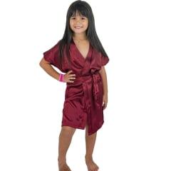 Robe Infantil Feminino de Cetim Com Elastano Roupão Vinho Marsala