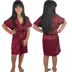 Robe Infantil de Cetim Com Elastano Feminino Vinho Marsala